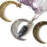 Snowflake Obsidian Crescent Moon Necklaces by Kloica Accessories