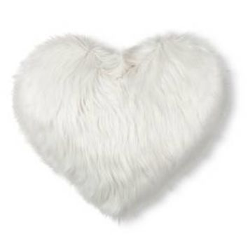 "White Oversized Heart Valentine's Faux Fur Throw Pillow (25""X21"") Ev Valentine"