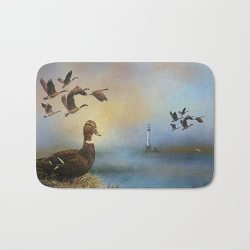 Lighthouse In Time Bath Mat by Theresa Campbell D'August Art