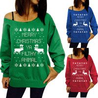 The Christmas tree theme pattern printing head sweater sweater