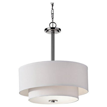 Murray Feiss Malibu 3 Light Nickel Drum Shade Chandelier - F2770/3PN