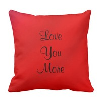 Love You, Love You More Script Pillow Red