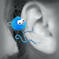 Ear Cuff - Monster, Creature, Critter, Kitty Cat, Wire Wrap, Pompom, Google Eyes, Turquoise Blue OOAK Jewelry