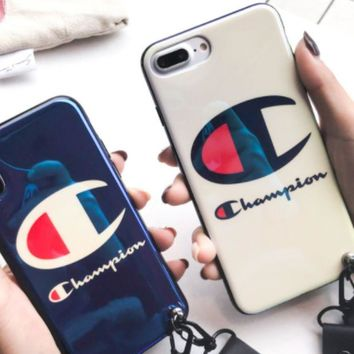 ac NOVQ2A The new blue-ray mobile phone case of the male champion iPhone7plus silicone 8 popular logo X couple with the 6s girl.