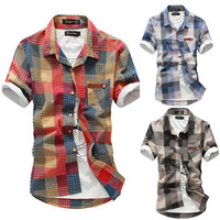 Fashion Men Check Plaid Short Sleeve Shirt
