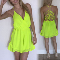 Sexy -neck Halter Jumpsuit Playsuit Romper Hot Pants Hollow Backless Beach Short