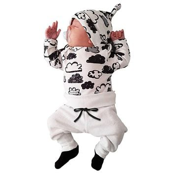 Fashion Toddler Tops Baby Boy Clouds Print Long Pants Baby Girl Hat Clothes Kids Outfits Cute Infant 3pcs Pajamas Set