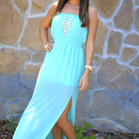 Heartbeat Maxi Dress: Bright Teal | Hope's