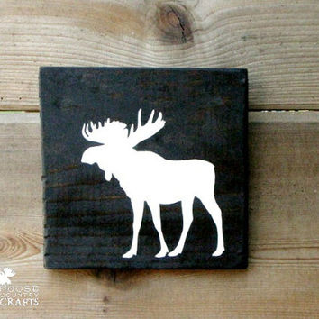 Wood Moose Wall Art - 6x6 pine,rustic nursery,rustic decor,stained wood, woodland, forest,kids room,shabby chic, babyshower gift,cabin decor