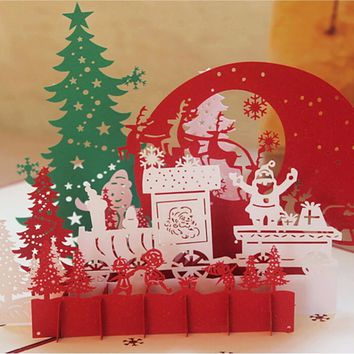 12 Style 3D Christmas Cards Greeting Handmade Paper Card Personalized Keepsakes Postcards For Xmas Wedding Birthday Decor