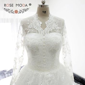 Rose Moda Long Sleeves Chantilly Lace Muslim Wedding Dress Cathedral Train Princess Wedding Ball Gown