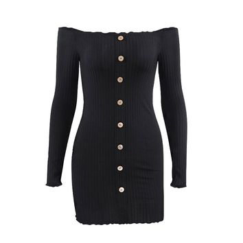 Women's Stylish Off Shoulder Long Sleeve Dress with Button Ruffle Knitted Bodycon Mini Dress