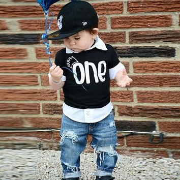 Puseky Newborn Baby Boy Summer Clothes Bebes Boy Short Sleeve Crown ONE Letter Printed T Shirts Black Tops Tee 0-24M