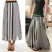 Women Girl Black/White Stripe Summer Chiffon Maxi Long Full Skirt Elastic Band 13981 One Size = 1946047620