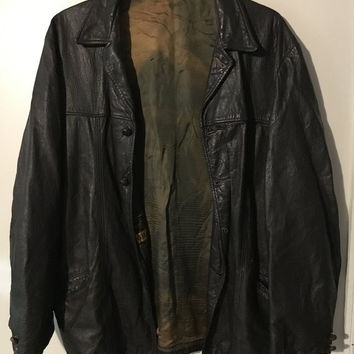 5 DAY SALE (Ends Soon) Dark Brown 1970s Grais Cabretta Leather Jacket - Classic Vintage Apparel Size XL