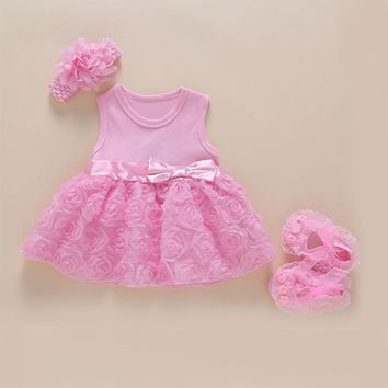 baby girl 1 year birthday dress pink party Bow knot boutique beautiful infant princess dress cute net lace flower baby dresses