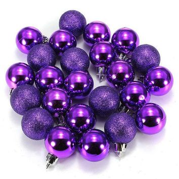 PEAPGB2 24Pcs Chic Christmas Baubles Tree Plain Glitter Chrismas Day Ornament Ball Decoration