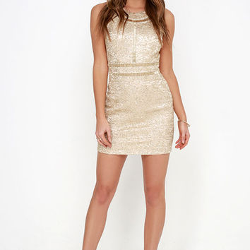 My Prerogative Gold Beaded Dress