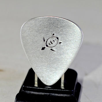 Sea turtle guitar pick handmade in aluminum