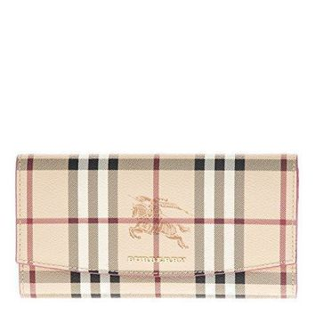 Burberry Women's Haymarket Check And Leather Continental Wallet Pink