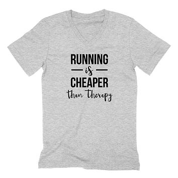 Running is cheaper than therapy workout gym fitness yoga graphic  V Neck T Shirt