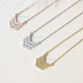 Rose Gold Triple Chevron Necklace, Rose Gold tribal chevron necklace, necklace for women, Dainty Simple Layering Minimalist Necklace