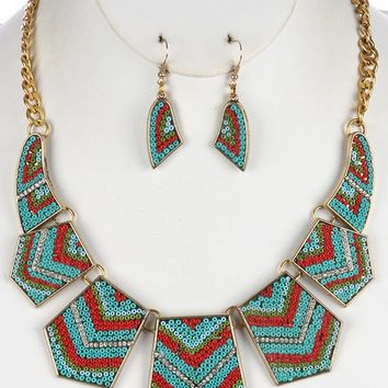 Turquoise and Coral Tribal Style Geometric Metal Bib Necklace And Earring Set