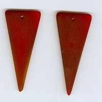 Set 2 Dark Red Triangle Sea Glass Pendant Bead 21x49mm