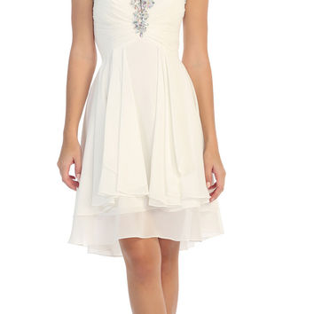 Starbox USA S6099 Beaded Ruched Bust Off White Chiffon A-line Short Prom Dress Sweetheart Neck