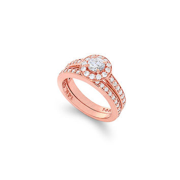 14k solid rose gold zircon ring set. engagement ring and wedding band set.