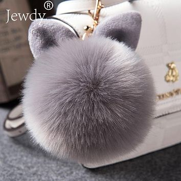Fur Pom Pom Keychain Fake Rabbit fur ball key chain porte clef pompom de fourrure pompon Bag Charms bunny keychain Keyring