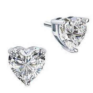 Perfect 2.2CT Heart Cut Russian Lab Diamond Stud Earrings