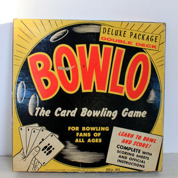 vintage bowlo game // copyrighted 1957 // feature games, cedar rapids, iowa // retro toy // card game