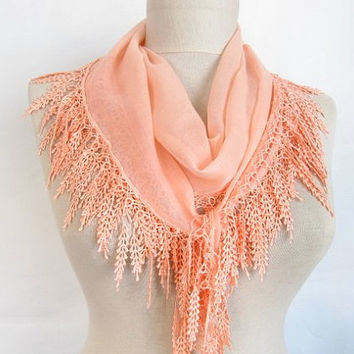 Fashion Accessories - Valentines day gift - Fringed Guipure Scarf -Fabric Knitted Lace Scarf - Shawl Scarf Cowl Scarf - Long Scarf