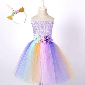 Little Baby Girl Pony Unicorn Cosplay Dress Costume Child Pastel Wedding Tutu Dress Flowers Girls Birthday Party Dresses Outfit