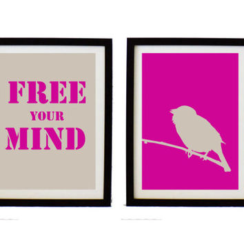 Bird Typographic art  Print Set -  free your mind  print  - bird poster  - inspiration  print -  Quote  print -  holidays gift