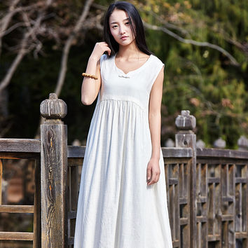 Solid Sleeveless V-neck Linen Women Dress Loose Casual Midi Long Summer Dresses Linen White Black Vintage Dress Vestidos B092
