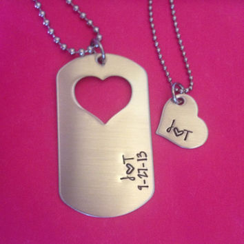 Personalized Initials and Date Dog Tag and Heart Necklaces Deployed Military Dog Tag Couples Necklaces Hand Stamped Silver Stainless Steel