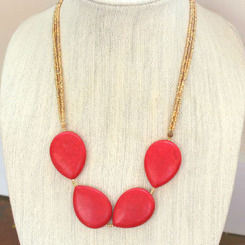 Red Howlite Stone Necklace. Red and Gold Stone Necklace.  Seed Bead Necklace. Red Necklace.  Gemstone Necklace.  Gifts for Her