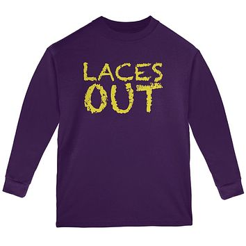 Football Kicker Laces Out Ace Youth Long Sleeve T Shirt