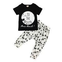 2017 Summer Baby Boys Clothing Set Short-sleeved Black Baby Boy Clothes Children Printed T-shirt+Pants Kids 2pcs Set