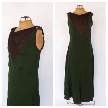 Vintage 1920s 1930s Flapper Dress Art Deco 30s Jersey Rayon Green Gold Mesh Dress Size Large Bias Cut Long Antique Gown 20s Gatsby Dress