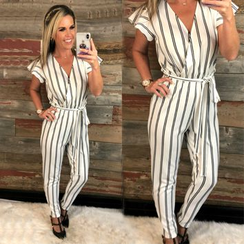 Further Than Ever Striped Jumpsuit