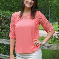 Coral Lace Trim Top