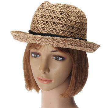 Women Bohemian Straw Linen Fedora Sun Caps Beach Solid Casual Belt Jazz Hat