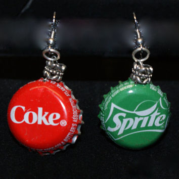 Sprite and Coke Bottle Cap Earrings, Soda Lovers, Green, Red, Handmade, One of a kind