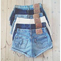 Vintage Levi's Shorts Denim Cutoffs Mid-waist Distressed Levi Jean Shorts