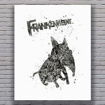 Frankenweenie Disney Watercolor Art Print Instant Download