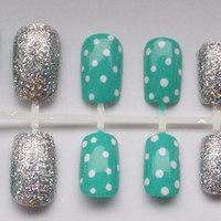 Teal and Silver Nautical Fake Nails - False, Artificial, Acrylic, FOLLOW ME AND ENJOY