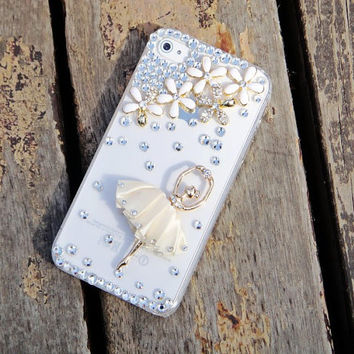 iPhone 4 case white ballet girl  rhinestone transparent case for iPhone 4 iPhone 4s phone case friendship graduation gifts summer trending
